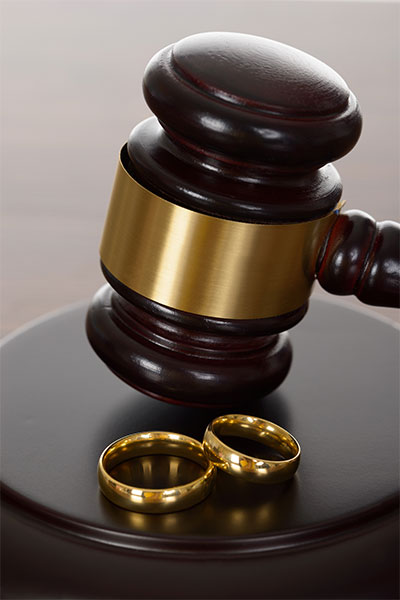 wedding rings and gavel